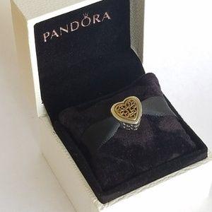 Pandora Silver Locked Love Openwork Charm heart